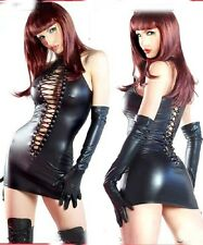 WetLook PVC Spandex Clubwear Catsuit bodycon Jumpsuit Playsuit +Gloves Fits 8-12