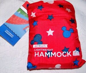 NEW DISNEY EMBARK MICKEY LIGHTWEIGHT HAMMOCK WITH STORAGE BAG HOLDS 300LBS CAMP