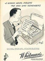 1949 Whitman Chocolate Candy Vintage Original Advertisement Print Art Ad K97