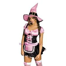 Ladies Witch Halloween Fancy Dress Up Wizard of Oz Fairy Tale Costume & free Hat