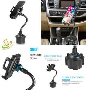 Adjustable Long Arm Gooseneck Cup Holder Car Mount For Universal Phone Tablet