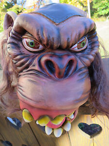 Creepy Scary Ape full Head Mask with big Eyes and Hair  Adult