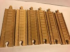 """LOT OF 6 CLICKETY CLACK 6"""" INCH TRACK PIECES Thomas Train Wooden Clickity"""