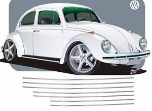 VW BUG 7 PIECE BODY MOLDING KIT Ref. EMPI 98-1060-B 50-66 Beetle WIDTH 2CM