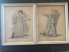 Boy & Girl Illustrated Art Prints In Pajamas Cat & Dog Lambert Product Pair E38