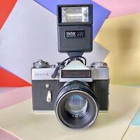 Zenit E 35mm SLR Film Camera, W/ Helios 44-2 F2 58mm Lens! & Flash, Lomo Vintage