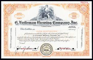 WI. G. Heileman Brewing Co., Inc., 1963 100 Shares Specimen Stock Certificate