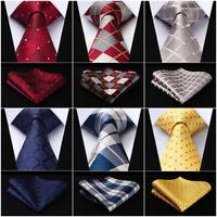 "HISDERN Check 3.4"" Silk Woven Wedding Men Tie Necktie Handkerchief Set#RC1"