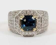 1 Ct Asscher Cut Blue Sapphire/Sim Diamond Men 925 Pinky Ring 14K Yellow Gold FN