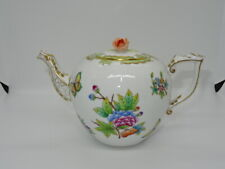 More details for herend hungary queen victoria teapot & lid rose finial - flowers butterflies