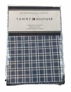 New Tommy Hilfiger  2 Standard Pillowcases Blue Plaid New