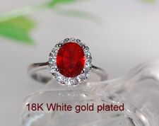 2ct @look oval ruby claster ring size J; US SIZE 5