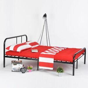 Einzelbett Metallbett Bett Bettgestell Schwarz Minimalistischer Stil 190X90cm