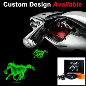 Pair Auto Logo Green Flame Horse LED Laser Projector Ghost Shadow Welcome Light