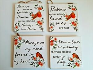 New wooden Robin hanging plaque gift sentiment remembrance 4 designs Free P & P
