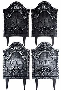 Halloween Plastic Gravestones / Tombstones 40cm Lawn Decorations (Set of 4)