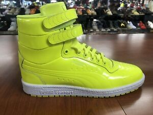Puma Sky ll Patent Emboss Hi Top Neon Yellow Men's Sizes   New 100% Authentic