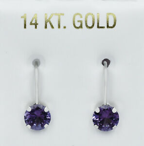 ALEXANDRITE 2.82 Cts DANGLING EARRINGS 14K WHITE GOLD * New With Tag *