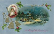 CHRISTMAS – Santa and People in Horse Drawn Sleigh Art Nouveau Postcard