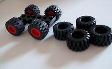 4x LEGO red wheel  6014b - 4x tire 87697 - 2x plate 6157 - plus 4x 6015