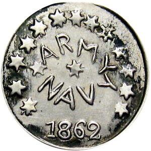 """""""1862"""" Fantasy Civil War Token Silver Dime Army & Navy Circa 1950's"""