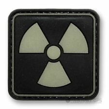 VINYL MORALE PATCH VELCRO PANEL RUBBER 'RADIOACTIVE' GLOW IN THE DARK WARNING