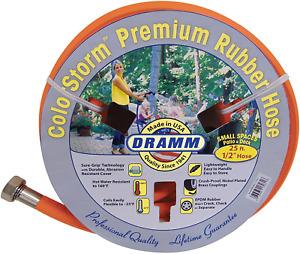 "Dramm 17032 ColorStorm Premium Rubber Garden Hose, 1/2"" x25', Orange"