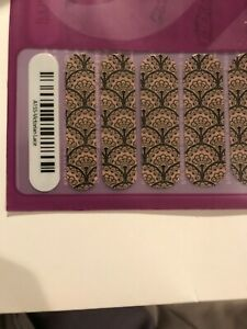 New Jamberry: Full sheet: Victorian lace black lace on taupe. Retired A155