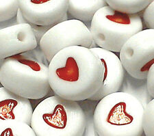 100pcs red and white pill shaped heart beads acrylic 7mm