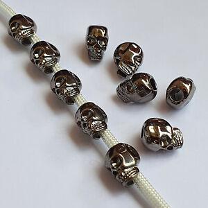 Totenkopf Großlochperlen Basteln Beads Metallperlen Paracord Skull Gun Metal