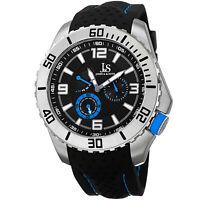 New Men's Joshua & Sons JS53BU Quartz Easy-to-Read Multifunction Silicone Watch