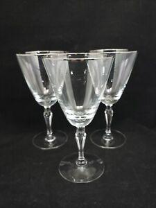 "Fostoria 1960's ""Engagement"" Crystal Water Goblets Stemware Platinum Rim 7"" Tall"