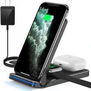 3 in 1 Wireless Charger for iPhone 11/XS TWS iWatch Charging Stand Dock Pad Qi