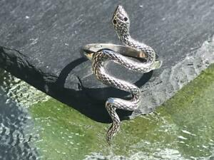 Handmade Snake Ring in 925 Sterling Silver, with two black spinels for the eyes