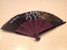 Vintage Swiss Air Ladies Folding Fan Very Pretty Black and Purple Advertising