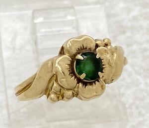 Ostby Barton OB 10k Yellow Gold Flower Child's Emerald Ring Sz 2.75 .9g