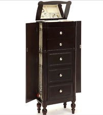 Jewelry Armoire Box Mirrored Espresso Chest Tall Storage Cabinet Stand Wood NEW