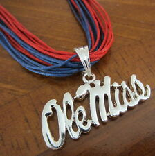 new! OLE MISS REBELS LARGE LOGO PENDANT MULTI-CORD NECKLACE Mississippi Jewelry