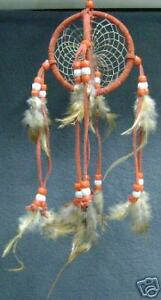 "DC3 NEW 3"" DREAM CATCHER RED COLOR with feathers Double Circle bedroom dreams"
