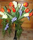 Interior Home Tulips Silk Flower Arrangement Black Vase Orange Cream Lavender