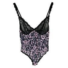Hanky Panky Pretty Leopard Thong-Back Teddy in Pink and Black (Medium) 9g8506