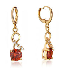 Yellow Gold Filled Chic Created Ruby Crystal Leverback Dangle Earrings