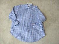 Robert Graham Flip Cuff Button Up Shirt Adult 2XL XXL Blue White Plaid Mens B18