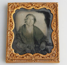 Antique Photography : An Old Woman Portrait Ambrotype in gilt frame No.4 C.19thC
