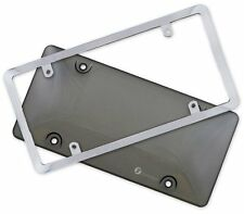 Zone Tech Bubble Smoked Tinted License Plate Tag Shield Cover and Chrome Frame