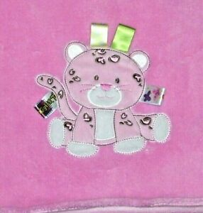 TAGGIES Pink Cat Leopard Cheetah Soft Plush Baby Blanket Security Lovey 30x40
