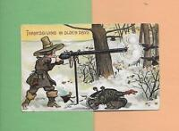 PILGRIM SHOOTS TURKEYS With Unusual Gun On Vintage THANKSGIVING Postcard