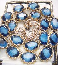 VINTAGE JEWELLERY BANDED BLUE AGATE BEZEL SET NECKLACE (SPHINX) RUNWAY VOGUE