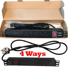 1U 4 Way 13A PDU Horizontal Rack Switch Mount Power Distribution Unit Extension