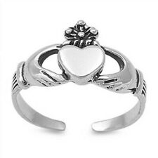 Claddagh Toe Ring Genuine Sterling Silver 925 Width 8 mm Adjustable Jewelry